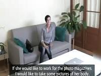 Horny brunette girl sex on the chair