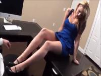 Foot job from a blonde at the office