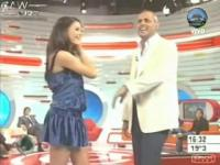 Upskirt shot of hot celebrity on TV without her knowing
