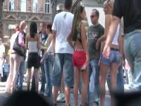 Two hot bimbos in shorts captured by a candid street cam