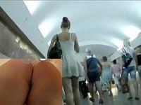 Alluring legs up petticoat in the subway