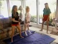 Twot blonde babes are cat fighting on carpet