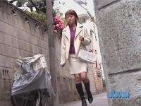 Asian milf in a white suit gets a street sharking.
