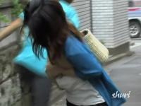 Delicious Japanese sweetie gets tricked during hot street sharking