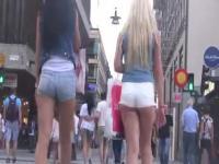 2 amazing teens in mini shorts