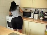 Spying on a Latina babe with an incredible big booty