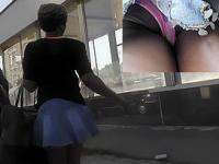Chubby amateur in jeans skirt gets in upskirt porn