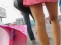 Outstanding upskirt view of two young sexy girlfriends