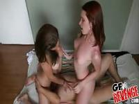 Tattooed redhead has threesome fun
