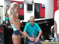 Amateur girls flash their tits at the barber shop