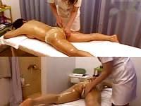 Japanese massage with a hidden camera