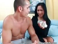 Old Asian milf loves to suck and ride
