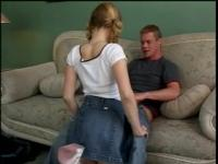 Hot blonde in schoolgirl outfit deepthroats a lengthy white pecker