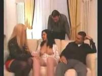 Fervent Orgy On A Couch