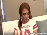 LadyboyGold Video: Denim Skirt Delight Creampie