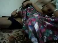 Shy indian waking man up with blowjob