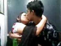 Amateur teen couple kisses on cam