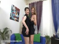 Olga punishes Sarah with a huge strapon anal dildo