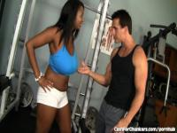 Chubby Black Babe Works Out With a White Cock
