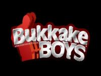 Bukkake boy takes two cocks up his ass