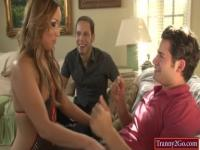 Hot blonde shemale Khloe Hart anal gangbang on the couch