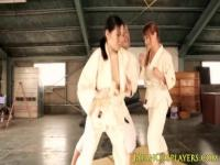 Busty asian cosplay teens fuck kungfu teacher