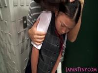 Japanese schoolgirl tanlined breast fondled