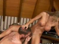 Playgirl with hot big titties taking part in blowjob action