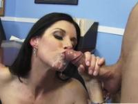 Milf is acting in jizz flow porn action in office