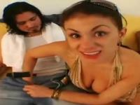 Two Latinas enjoy oral sex with a dude