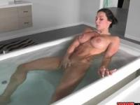 Playgirl with hot bubble butt is acting in masturbating porn action in shower