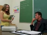 Teenager coed Natahsa Nice with hot boobs in dick sucking sex action in office