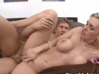 Mature with hot huge tits is acting in blowjob adult video