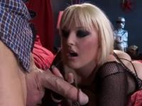Blonde bitch gets caught masturbating and gives bj
