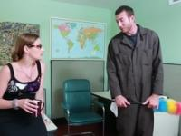 Playgirl taking part in dick sucking porn movie in office
