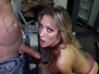 Beauty Capri Cavanni with hot big melons is acting in cock sucking porn in office