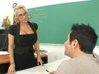 Milf with hot knockers in hard core adult video in office