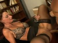 Deep-throating mature with hot huge boobs in dick sucking porno movie in office