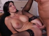 Beauty with hot hooters taking part in porn action in office