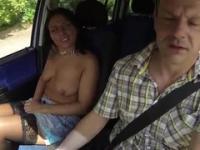 Brunette amateur taking part in porn scene in public