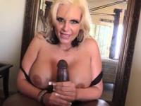 Blonde aged female Phoenix Marie taking part in ass fuck sex video