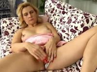 Blonde aged female is acting in masturbation porn movie