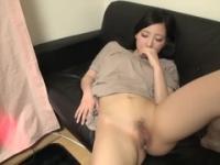 Asian brunette taking part in creampie xxx video