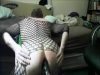 Amateur Tranny dildo play