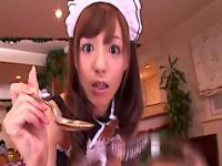 Japanese costume play maid stroking bloke away