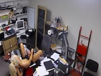 Tiny blonde milf cocksucking in office