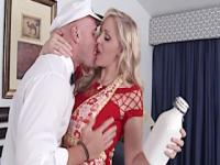 The milkman gets a surprise from a horny milf