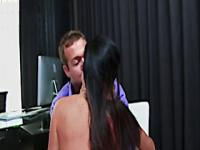 Horny mummy seduces workmate and screws in...