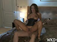 nasty bitch gets jizz on her tits after double penetration