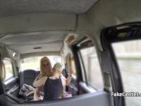 Lesbians fucking on backseat of taxi